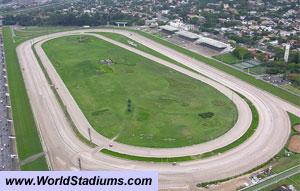 The Hipódromo de Cidade Jardim, São Paulo, Brazil, in a view from the course