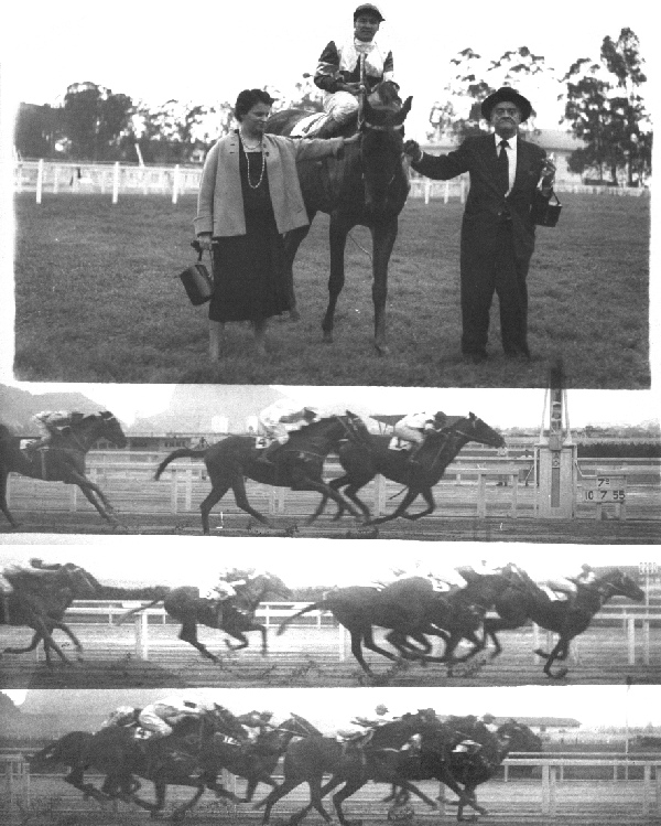 Rachel Muniz Freire de Lima Lages, the wife of the founder of Stud Baependi, admiral Mario Luiz de Lima Lages and mother of the actual owner and breeder Luiz Eduardo Muniz Freire de Lima Lages, receiving DOURANDO, mounted by the Chilean legend, the exceptional jockey Juan Marchant, 11 years champion of the statistics in Chile, after to win a race in G�vea Racetrack, in Rio de Janeiro, Brazil, 10 July 1955