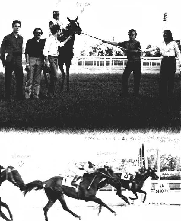 In the right of the photo, Luiz Eduardo Lages, the successor of the Baependi Stud, with Geny Schaffeln, receiving with the friends in the left, the filly from the stud, �TICA, by Homero out of Orange, by Normanton out of La Vestal, winning, between many others, already in her second start, the fillies Miraluz and Endecha