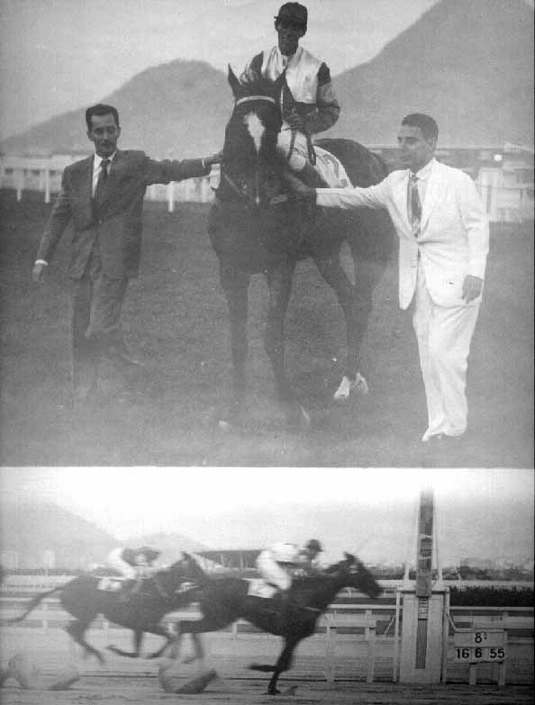 The founder of Stud Baependi, today renamed Baependi Stud, admiral Mario Luiz de Lima Lages (to the left), receiving with a friend the good horse from our stud, LALAU, mounted by the jockey Nelson Costa Pereira, after to win a race in áveaRacetrack, in Rio de Janeiro, Brazil, 16 June 1955