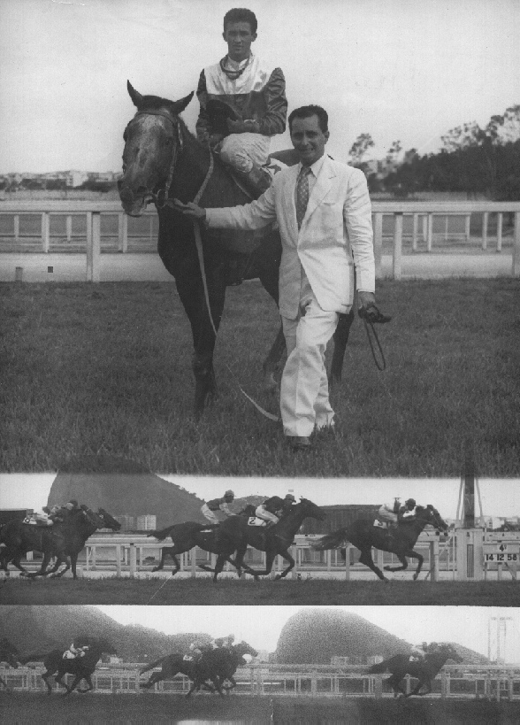 The founder of Stud Baependi, the prestigious admiral Mario Luiz de Lima Lages, receiving NILGAI, mounted by the champion-jockey Manoel Silva, called Bequinho, after to win a race in Gávea Racetrack, in Rio de Janeiro, Brazil, 14 December 1958