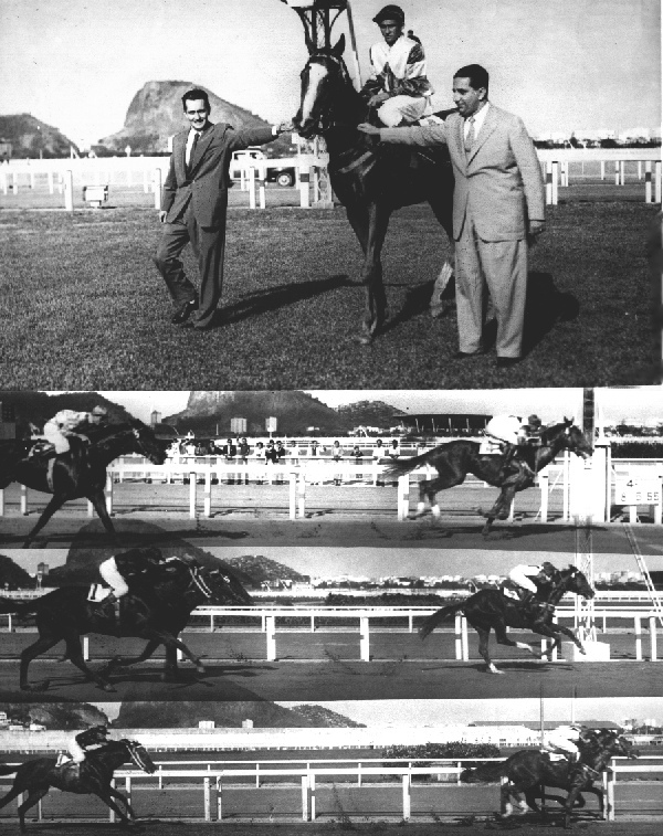 The founder of Stud Baependi, admiral Mario Luiz de Lima Lages, receiving SIR TOBY, mounted by the seven times champion-jockey Manoel Silva, after the son of Winter Garden to win in his debut with 2 years old, beating the future classic horse Cedro, mounted by the biggest legend of the golden years, Luiz Rigoni, in a animation race for 2 years old in Gávea Racetrack, in Rio de Janeiro, Brazil, 8 May 1955