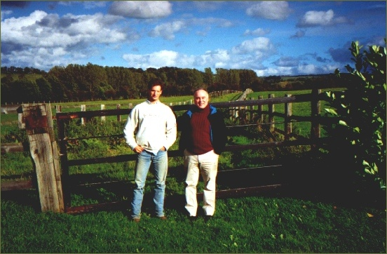 Mr. Emmanuel Talvard showing their stud, Haras du Cadran, in Normandy, France, to Mr. Luiz Eduardo Lages